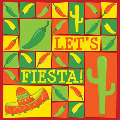 Funky Let's Fiesta card in vector format.