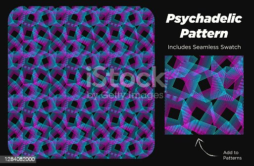 istock Funky Modern Psychedelic Pattern with Neon Blue, Purple and Pink Squares Texture in a Creative Pattern 1284082000