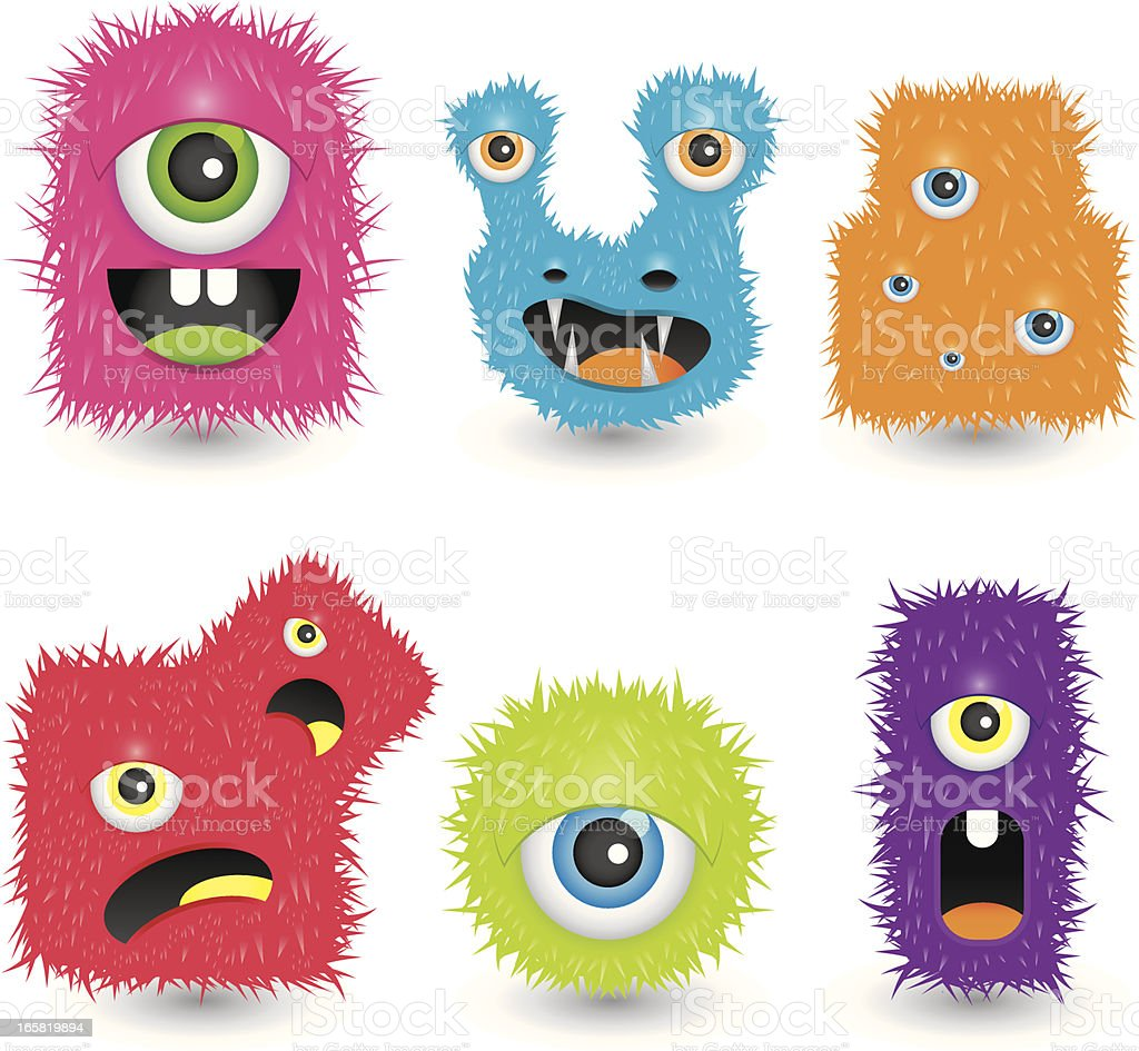 Funky monsters vector art illustration