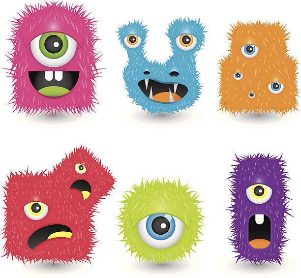 stockillustraties, clipart, cartoons en iconen met funky monsters - dierenhaar