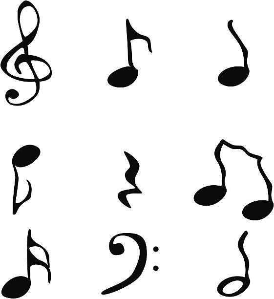 Funky music notation vector art illustration