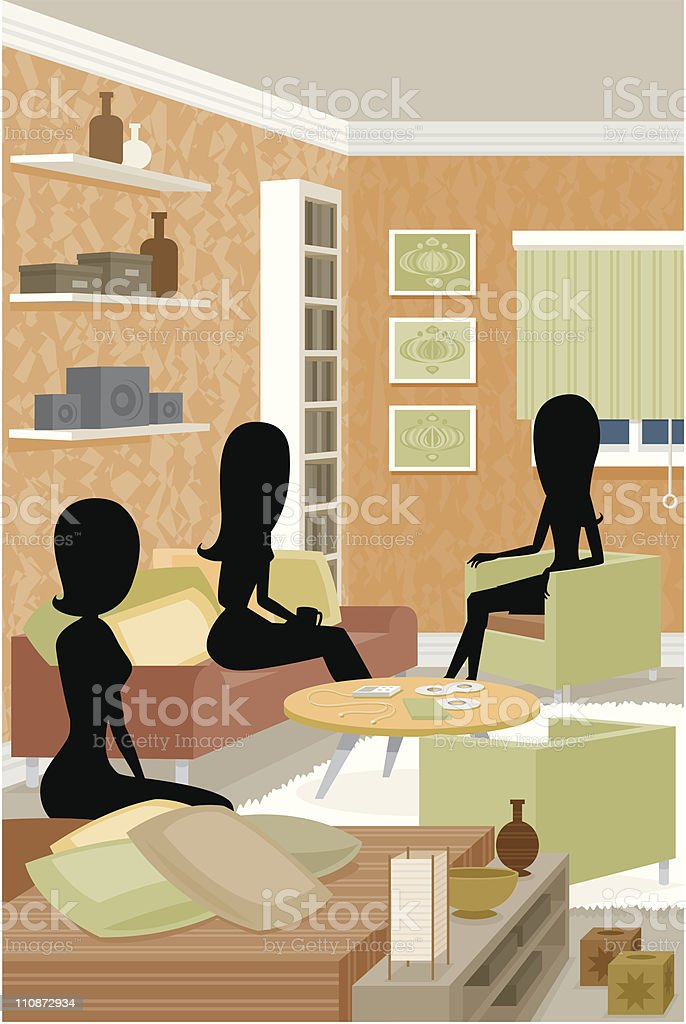 Funky Party Silhouettes vector art illustration