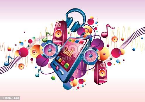 Music design - mp3 player, louspeakers and headphones, colorful vector artwork