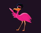 Funky pink disco flamingo dancing with an afro hairstyle and sunglasses