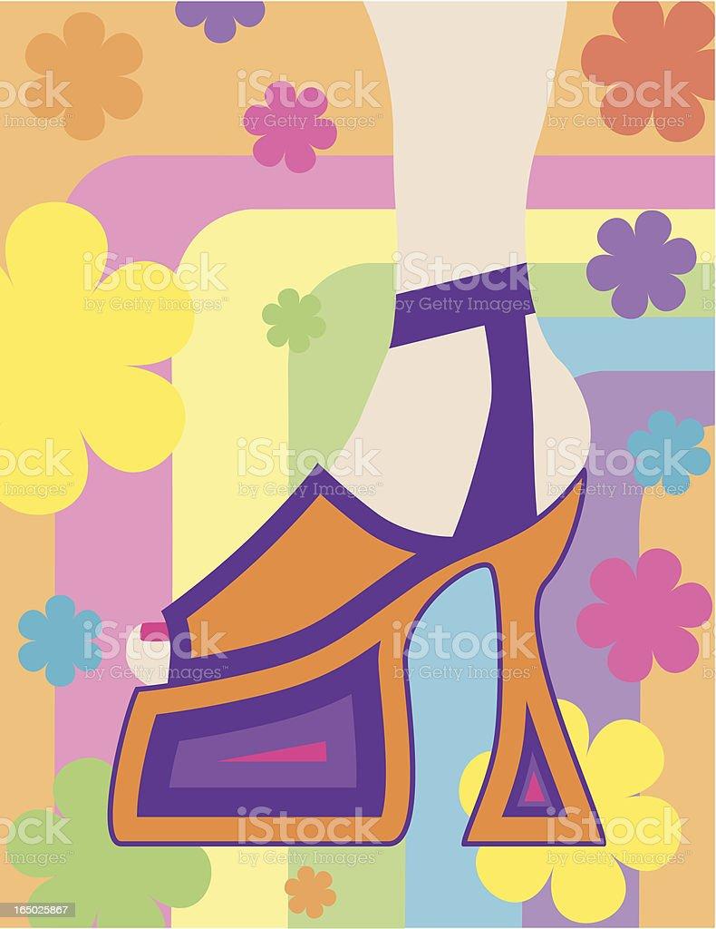 Funky Platform Heels - Let's Dance! royalty-free funky platform heels lets dance stock vector art & more images of 1960-1969
