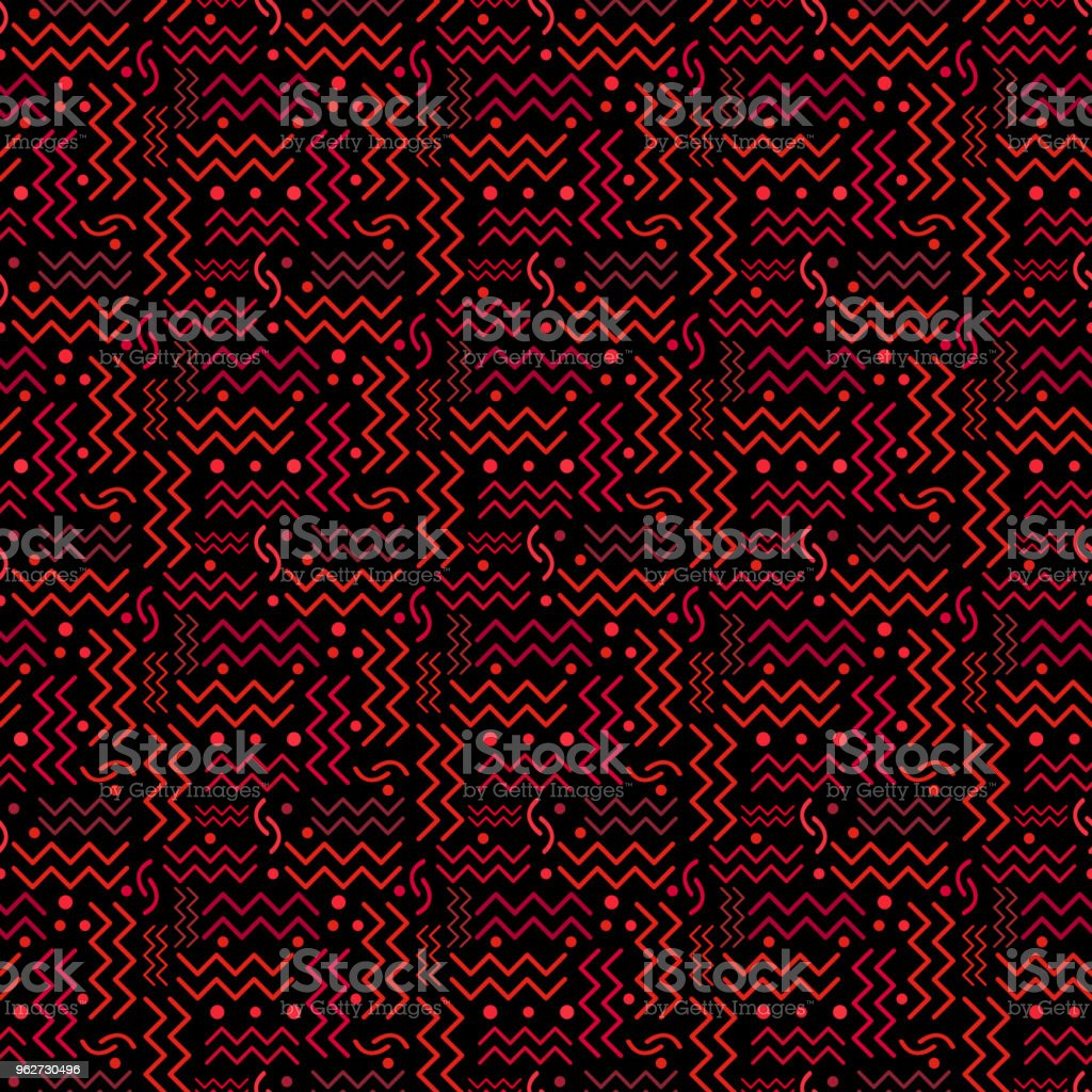 Funky Red retro Pattern on Black vector art illustration