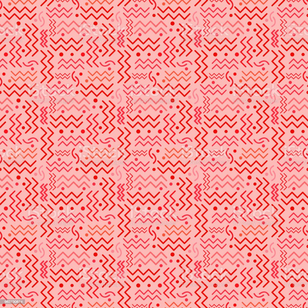 Funky Red retro Pattern on Pink vector art illustration
