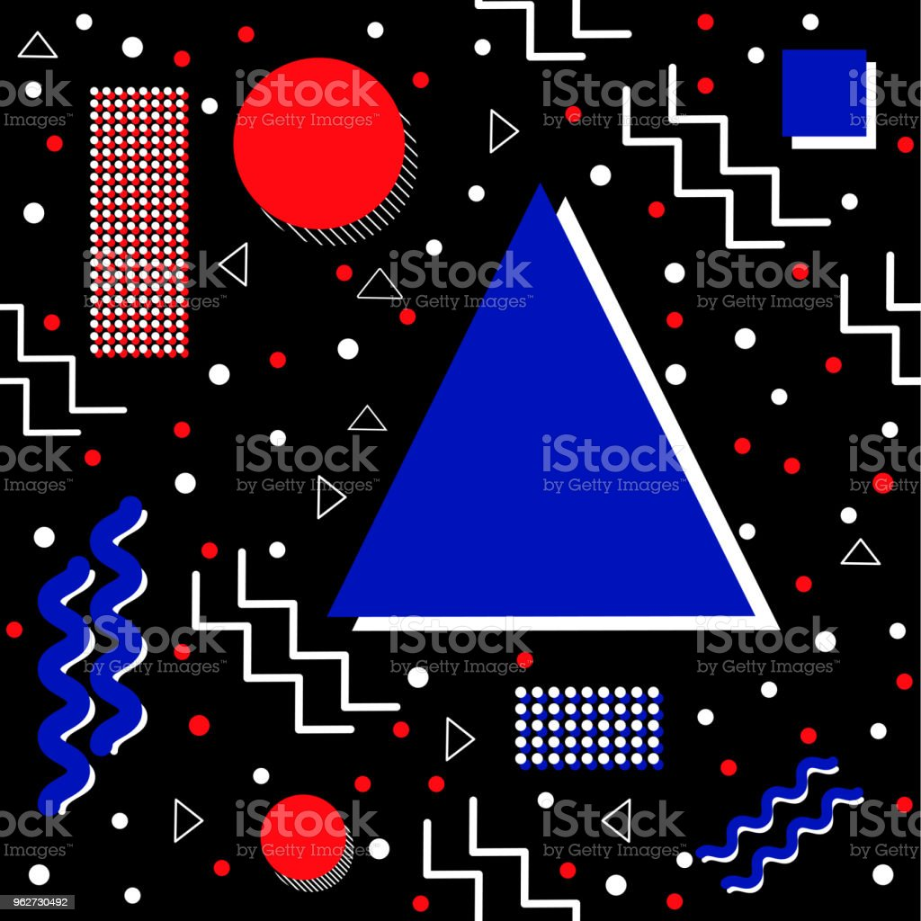Funky retro Pattern on Black vector art illustration