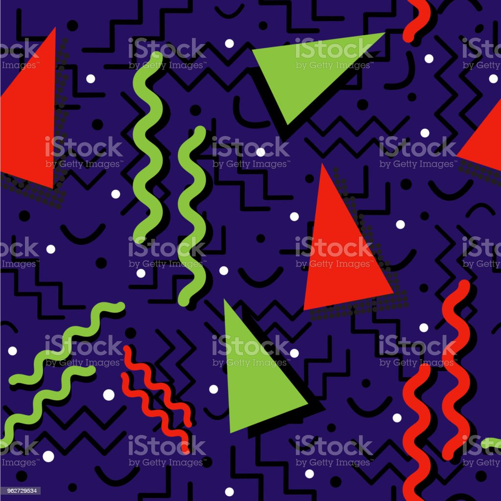 Funky retro Pattern on Blue vector art illustration