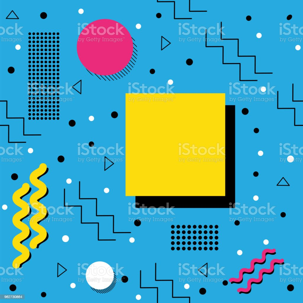 Funky retro Pattern on Cyan vector art illustration