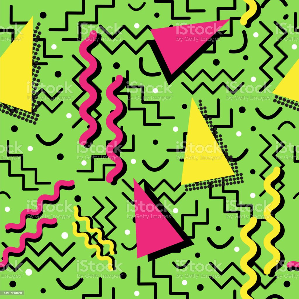 Funky retro Pattern on Green vector art illustration