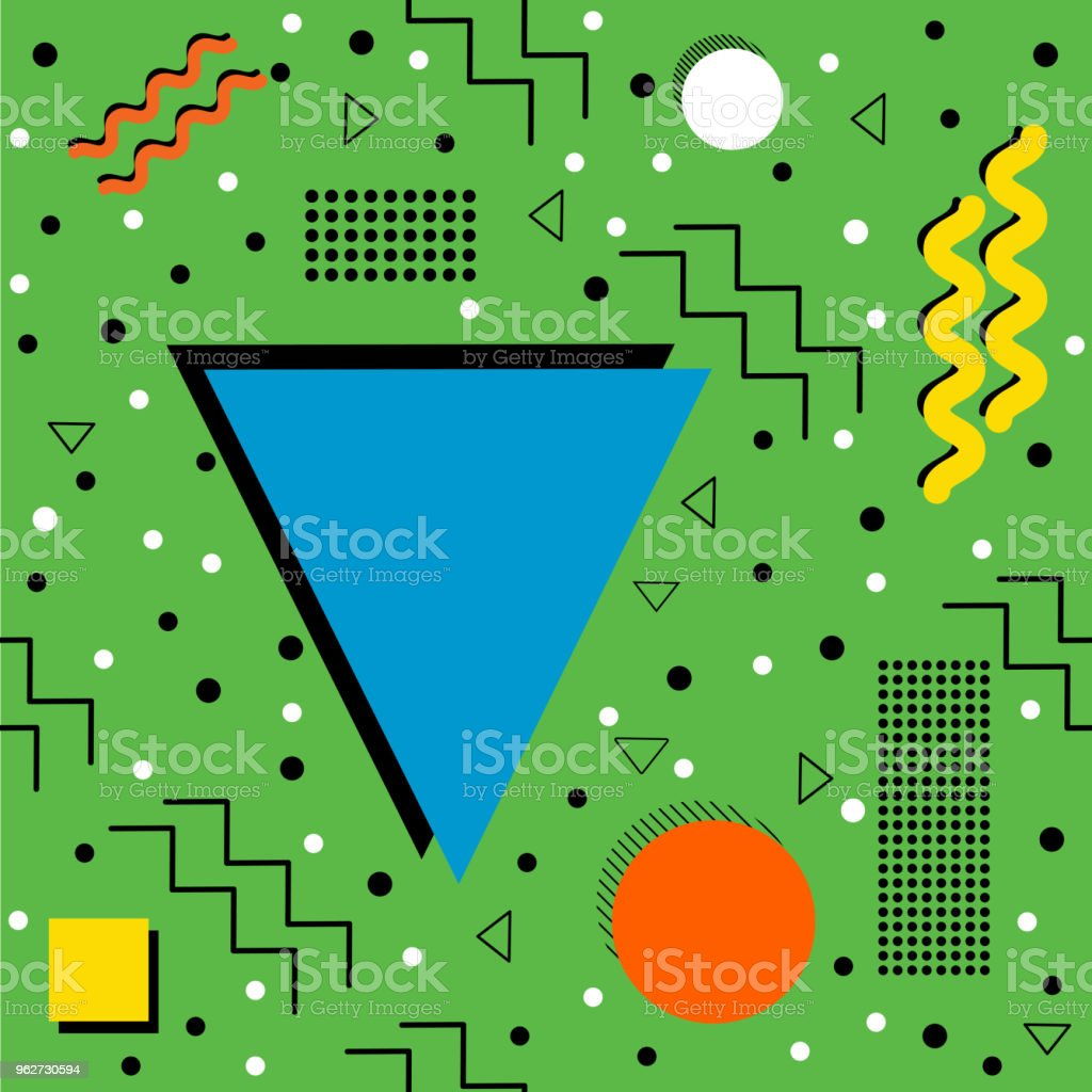 Funky retro Pattern on Green vector art illustration