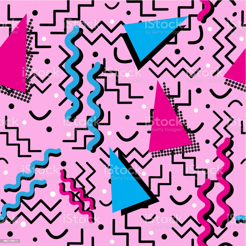 Funky retro Pattern on Pink vector art illustration