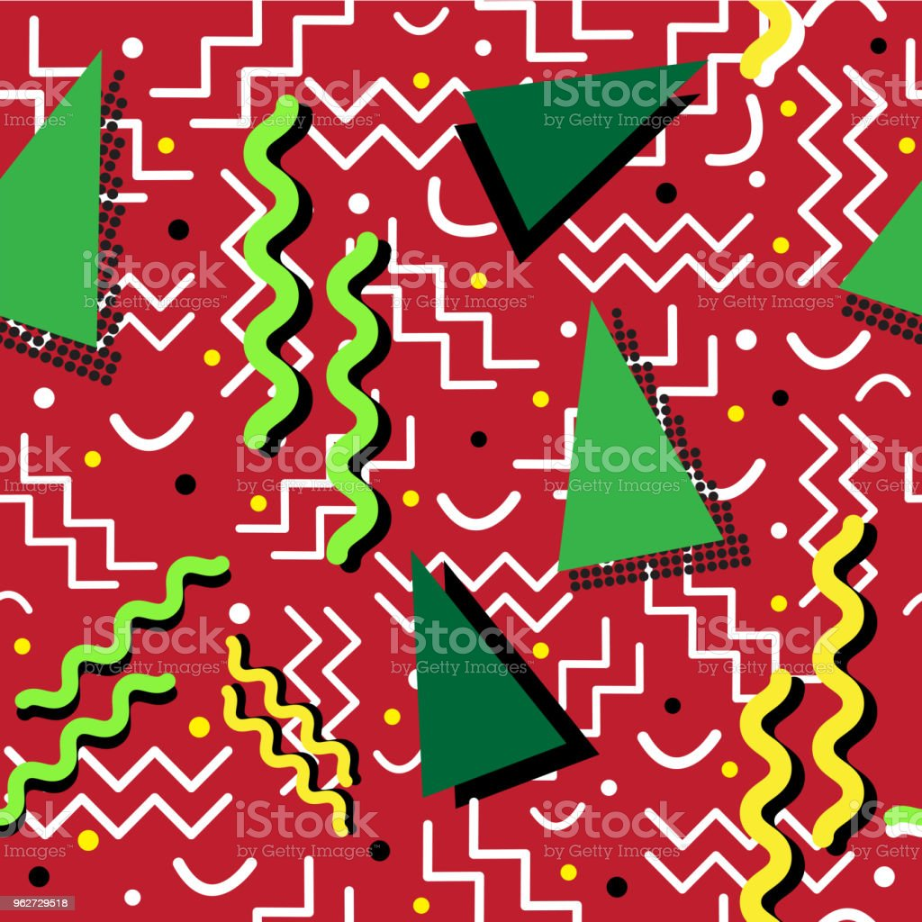 Funky retro Pattern on Red vector art illustration