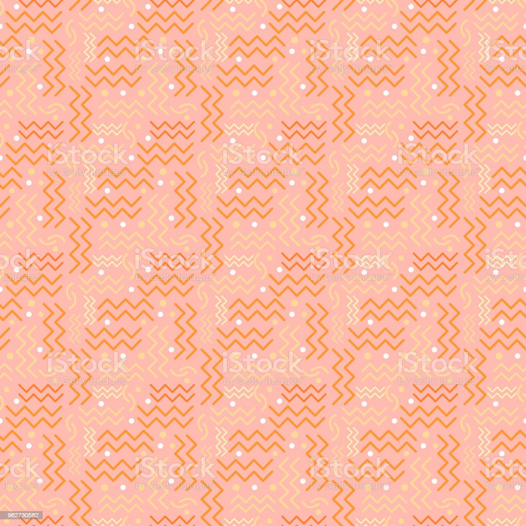 Funky retro Pattern on Salmon Pink vector art illustration