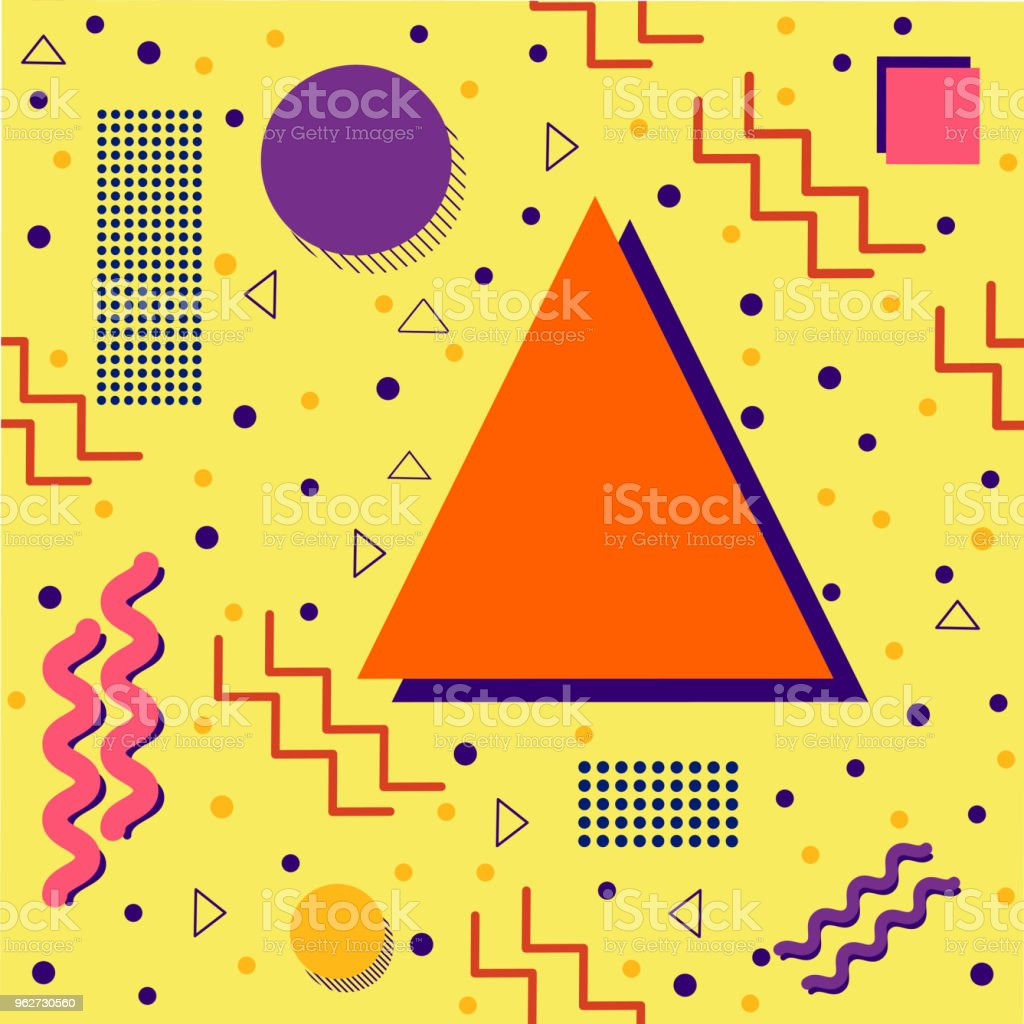 Funky retro Pattern on Yellow vector art illustration