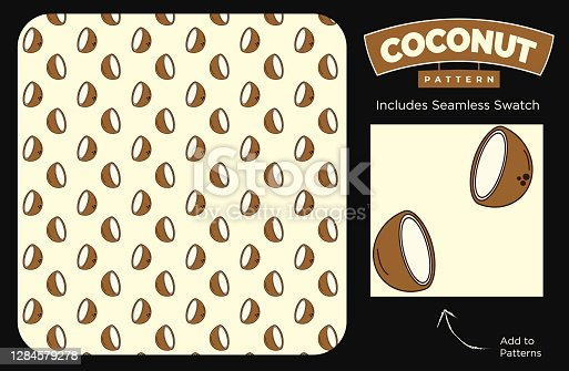 istock Funky Seamless Coconut Pattern on Light Beige Background for Food and Beverage Textures or Fashion Textile 1284579278