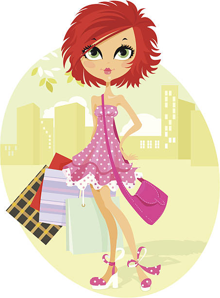 funky shopper - redhead stock illustrations, clip art, cartoons, & icons