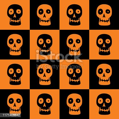 Vector seamless pattern of funny looking skulls on an orange and black checkerboard background