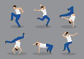Set of six male hip hop dancers in cool street dance moves. Vector icons isolated on grey background.