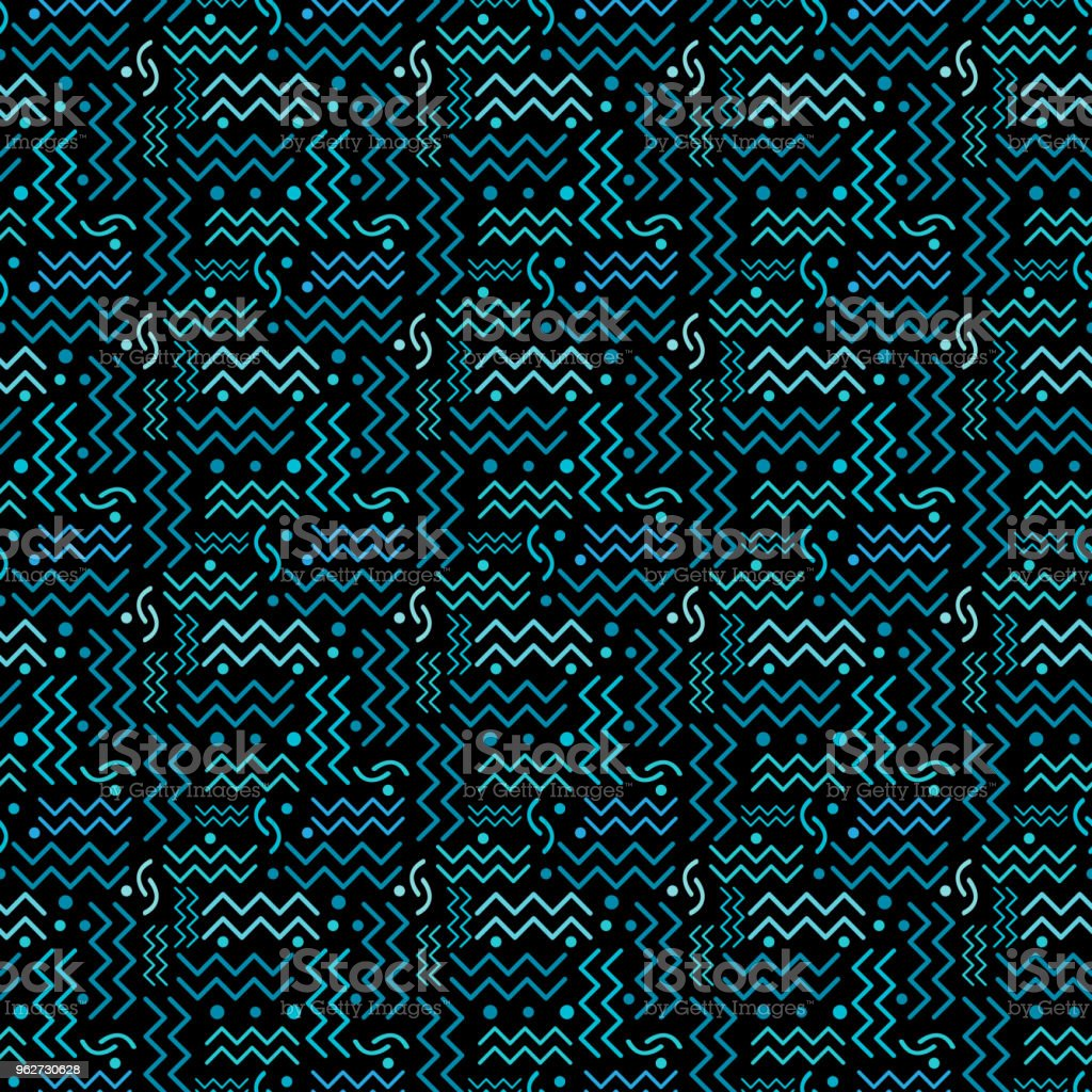 Funky Teal retro Pattern on Black vector art illustration