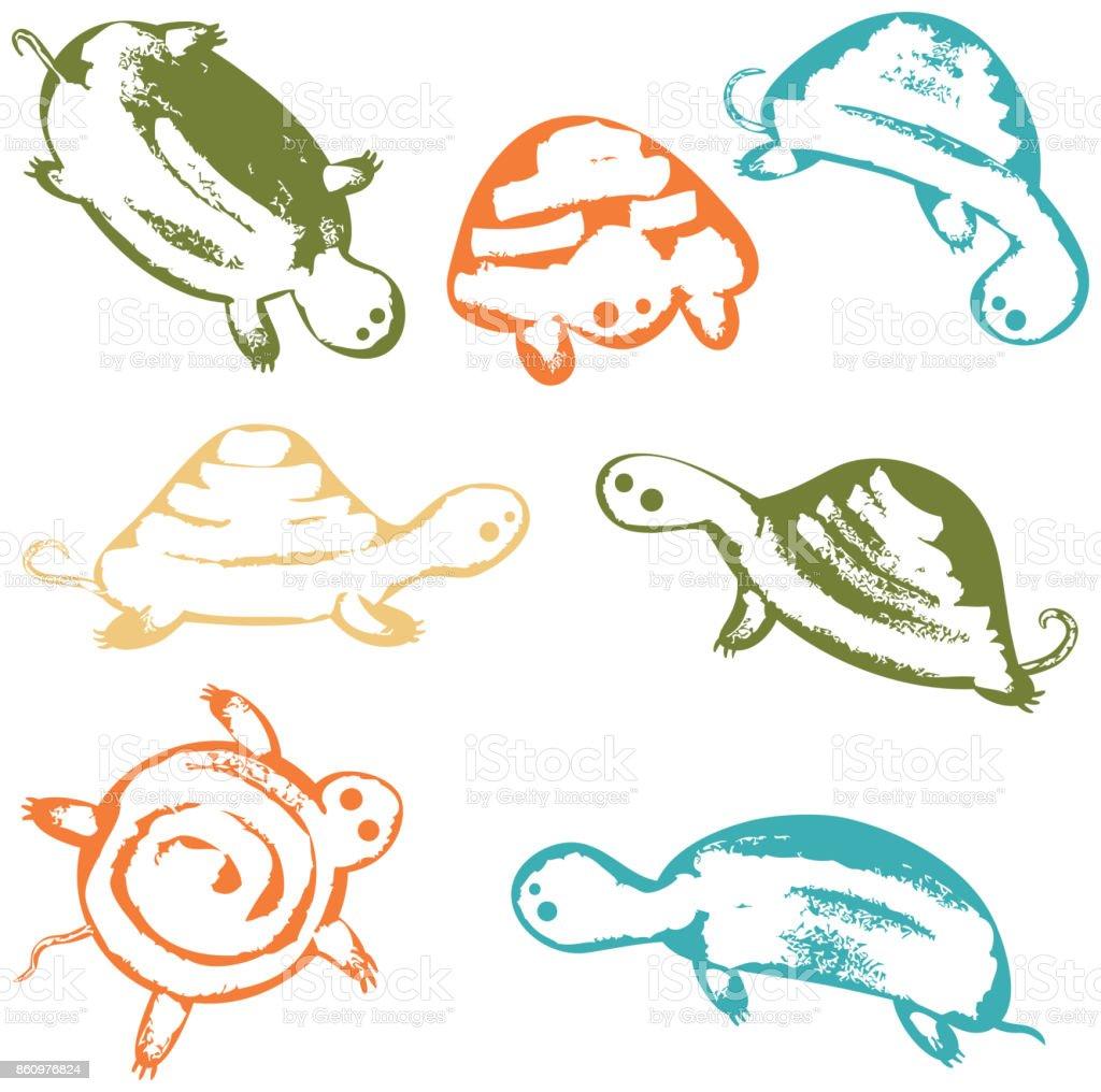 Funky vector turtles icon set vector art illustration