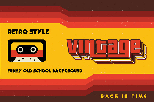 Funky Vintage Banner with Retro Lines and a Cassette Tape