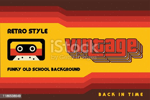 istock Funky Vintage Banner with Retro Lines and a Cassette Tape 1186538549