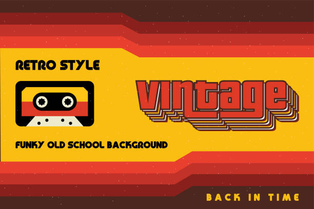 Funky Vintage Banner with Retro Lines and a Cassette Tape Funky Vintage Banner with Retro Lines and a Cassette Tape funky stock illustrations