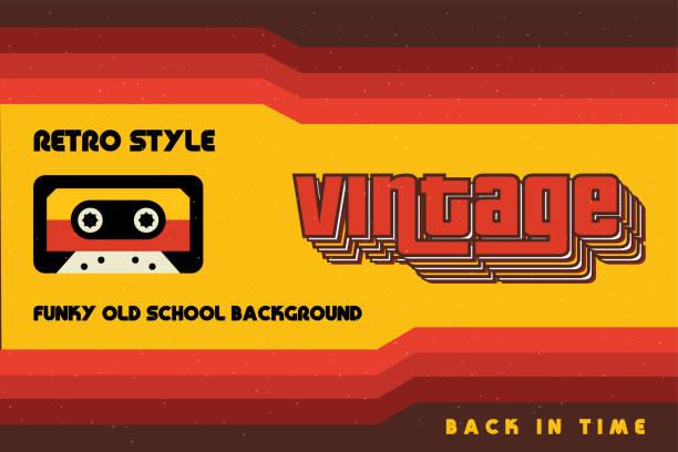 stockillustraties, clipart, cartoons en iconen met funky vintage banner met retro lijnen en een cassette tape - seventies