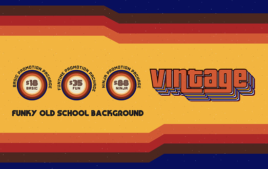 Funky Vintage Banner with Retro Lines and Infographic Circles