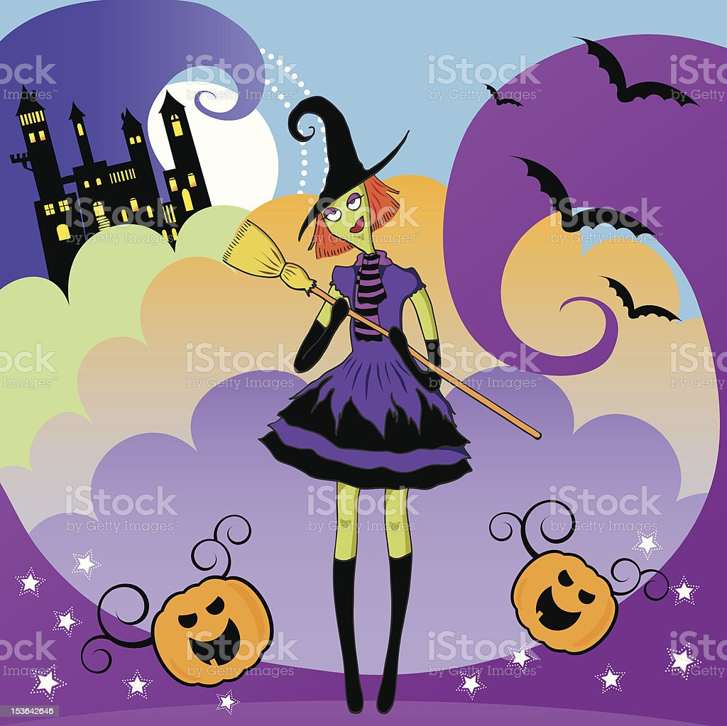 funky witch vector art illustration
