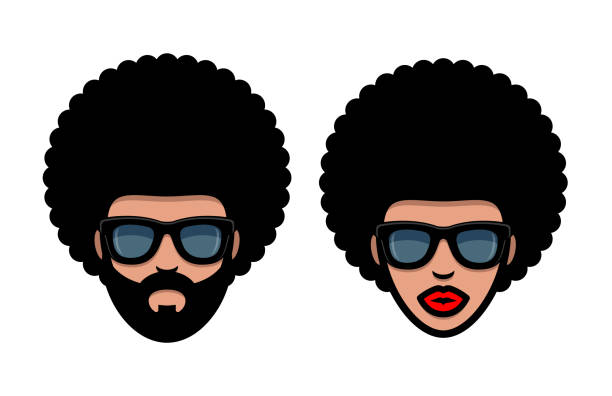Funky woman and man in sunglasses with Afro hair - ilustração de arte vetorial