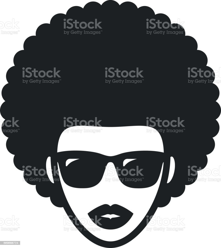Funky woman in sunglasses with Afro hair vector art illustration