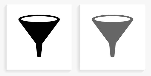 Funnel Black and White Square Icon vector art illustration