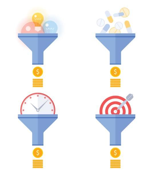 Funnel flow converts targeting, marketing, management, ideas to money concept. vector art illustration