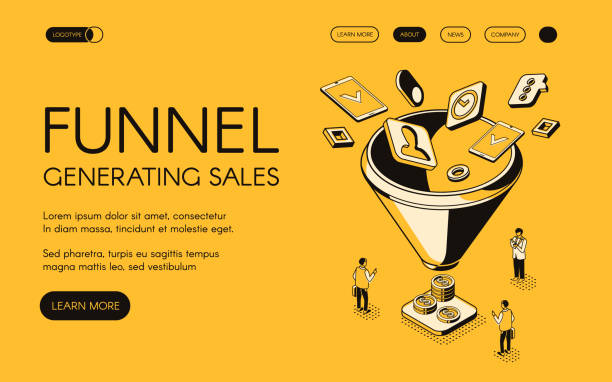 Funnel generating sales vector illustration Funnel generating sales vector illustration for digital marketing and e-business technology. Trade and commerce for money profit in isometric black thin line web design on yellow halftone background sales occupation stock illustrations