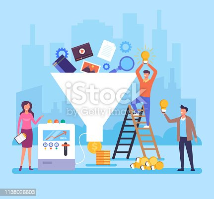 Funnel generation people office workers team characters. Successful business concept. Vector flat cartoon graphic design