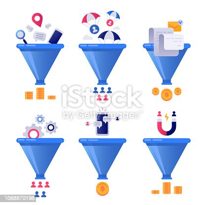 Funnel generation sales. Business lead generations, mail sorter funnels and pipeline sale optimization or conversion leads optimize segment vector concept illustration isolated icons set