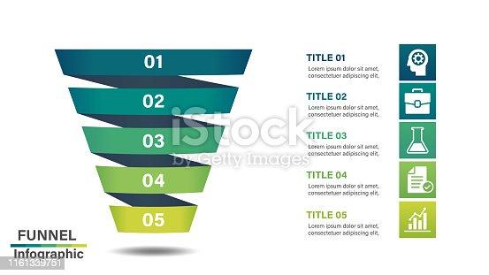 Graphic design element for flowchart,presentation,workflow or process infographic.Vector illustration.