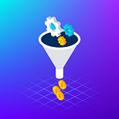 Funnel Leads Gear Money Concept. Vector Illustration of Business Isometry.