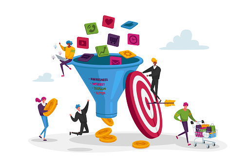 Funnel Marketing. Tiny Characters Put Money into Huge Sales Funnel. Digital Marketing Lead Generations Strategy