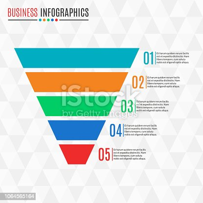 Funnel or cone symbol. Business pyramid with 5 steps, options or levels. Marketing and sales design element. Vector illustration.