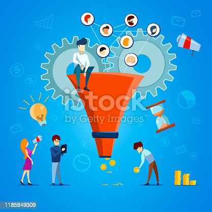 istock Funnel sale generation. Digital marketing funnel lead generations with buyers. Strategy, conversion rate optimization vector concept. Funnel marketing, optimization sale illustration. Flat style. Vector illustration. 1185849309