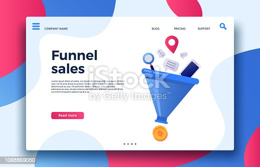 Funnel sales. Landing page business marketing sales generation, buyer conversion and money profit generations or business purchase infochart. Marketing infographic vector illustration