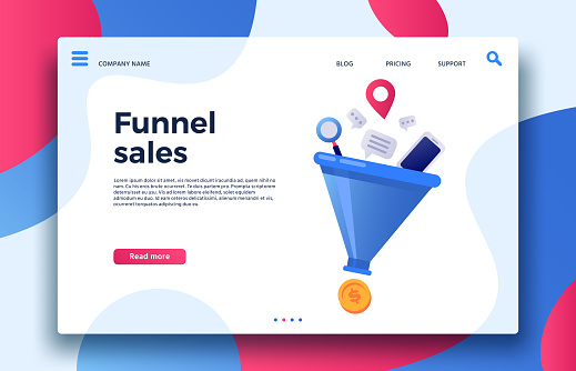 Funnel sales. Landing page business marketing sales generation, buyer conversion and money profit generations vector illustration