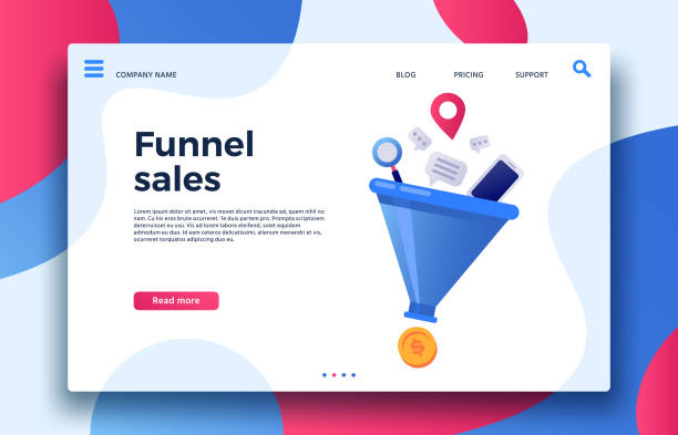 funnel sales. landing page business marketing sales generation, buyer conversion and money profit generations vector illustration - sprzedawać stock illustrations