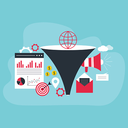 Funnel sales. Landing page business marketing sales generation, buyer conversion and money profit generations vector
