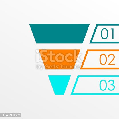 Funnel symbol. Marketing and sales chart. Business infographic template with 3 steps or levels. Vector illustration.