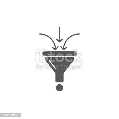 funnel vector icon concept design, isolated on white background